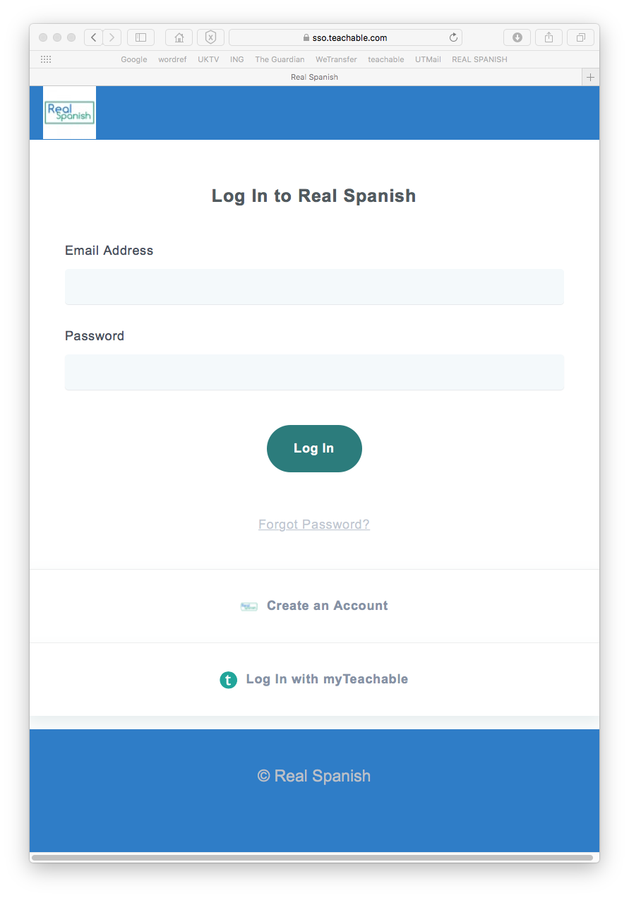 Log in to Real Spanish